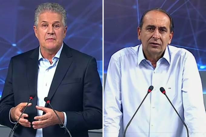 Os candidatos à Prefeitura de Belo Horizonte, João Leite (PSDB) e Alexandre Kalil (PHS), durante debate realizado pela Banda