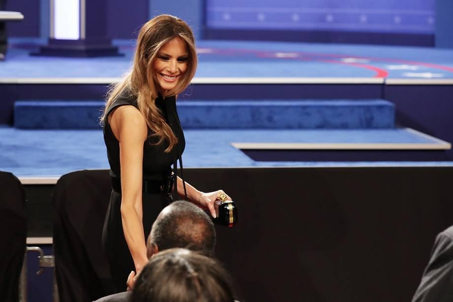 A esposa do candidato republicano, Melania Trump, durante o debate em Las Vegas