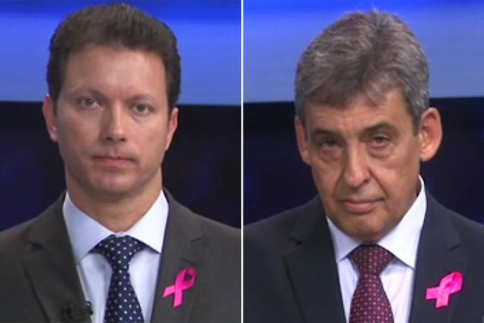 Os candidatos à Prefeitura de Porto Algre, Nelson Marchezan Junior (PSDB) e Sebastião Melo (PMDB), durante debate realizado pela Band