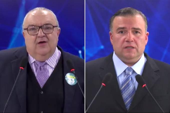 Os candidatos à Prefeitura de Curitiba, Rafael Greca (PMN) e Ney Leprevost (PSD), durante debate realizado pela Banda