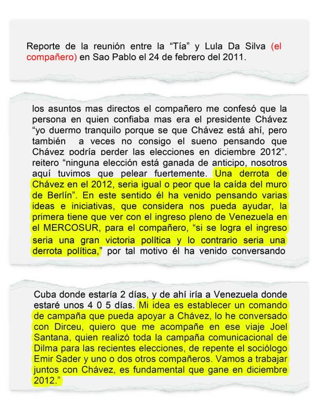 Relatório produzido pelo embaixador Arveláiz sobre encontro com o ex-presidente Lula