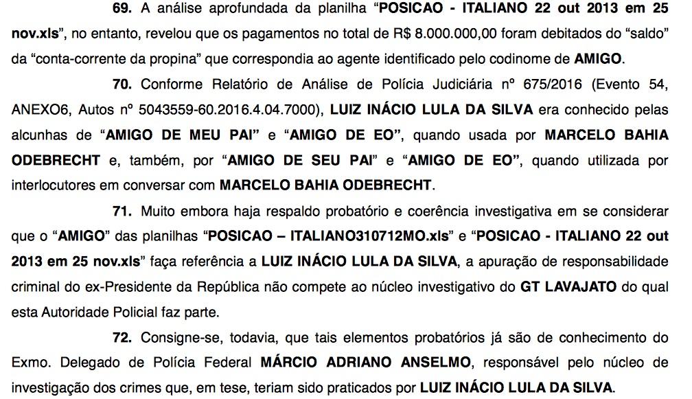 Reprodução do relatório da Polícia Federal
