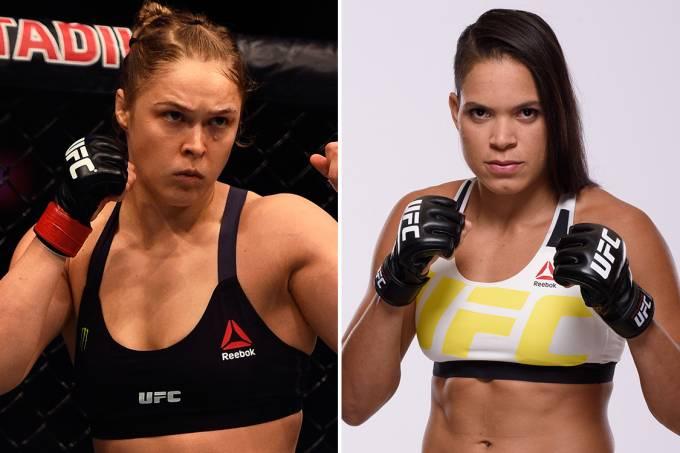 As lutadoras Ronda Rousey e Amanda Nunes