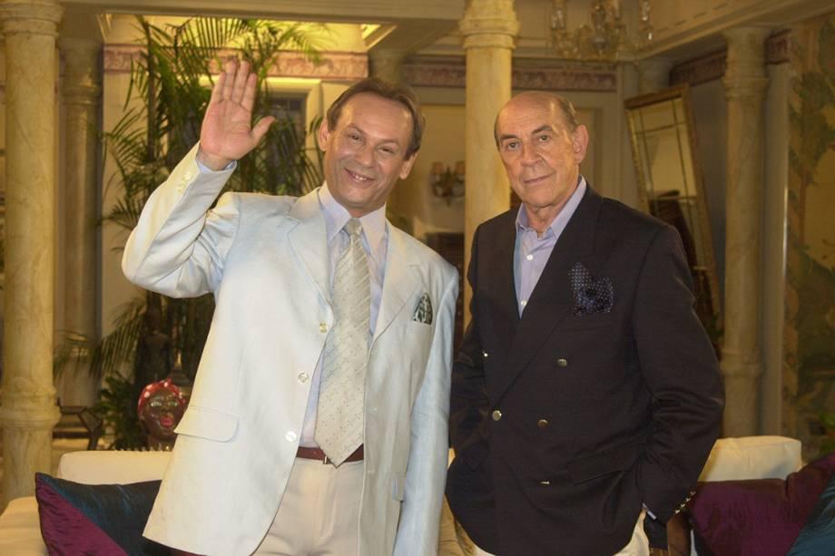 José Wilker e Raul Cortez na novela 'Senhora do Destino'