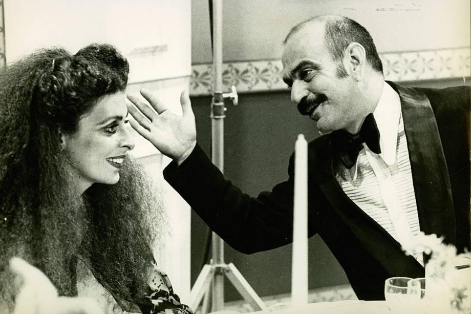 """Silvia Sangirardi e Lima Duarte na novela """"O Rebu"""", da Rede Globo"""