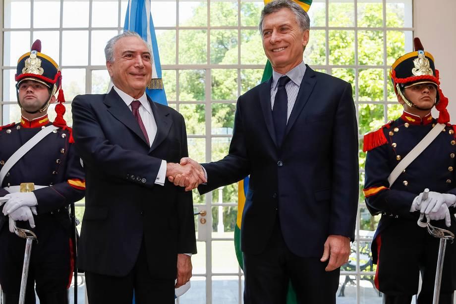O presidente Michel Temer durante reunião com o colega argentino, Mauricio Macri, em Buenos Aires - 03-10-2016