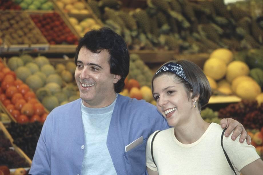 """Tony Ramos e Georgiana Goes no Mercado Municipal de São Paulo, na novela """"A Próxima Vitima"""""""