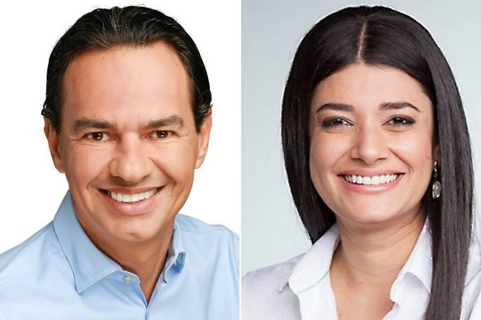 Os candidatos à Prefeitura de Campo Grande, Marquinhos Trad (PSD) e Rose Modesto (PSDB)