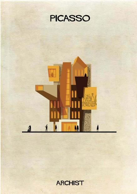 O estilo de Pablo Picasso aplicado a um projeto arquitetônico originaria um edifício cubista