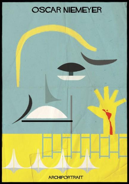 Retrato de Niemeyer pelo italiano Babina, parte da série Archi_Portrait
