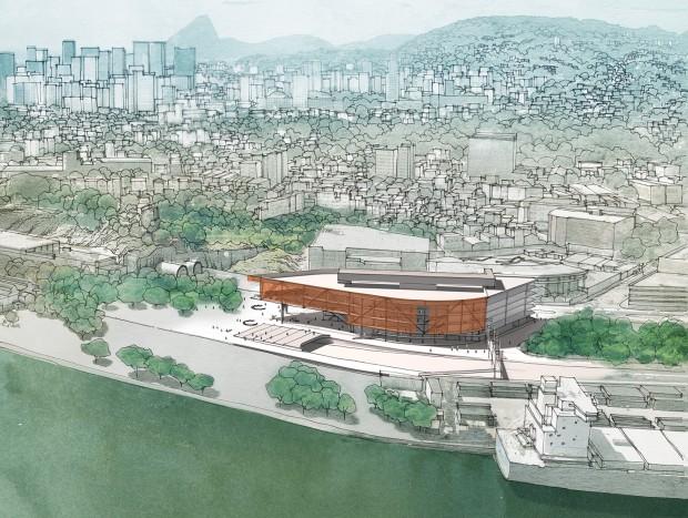 Imagem área do projeto de Hector Vigliecca para o novo edifício da Biblioteca Nacional, no Porto Maravilha (Imagens Divulgação)