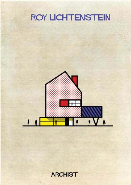 Casa modernista projetada por Roy Linchtestein, uma das composições da série