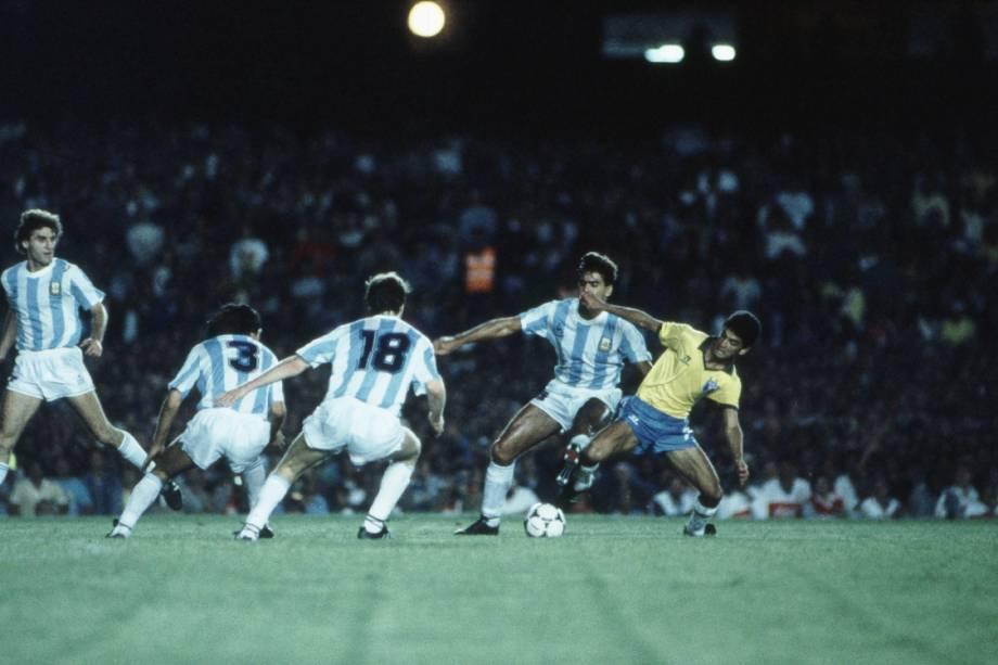 Jogo do Brasil contra a Argentina, pela Copa América, no Maracanã. 12/07/1989.