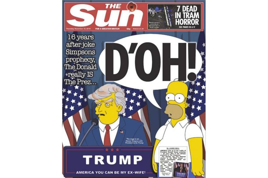 """The Sun: """"16 anos após a piada profética dos Simpsons, Donald realmente é presidente..."""""""