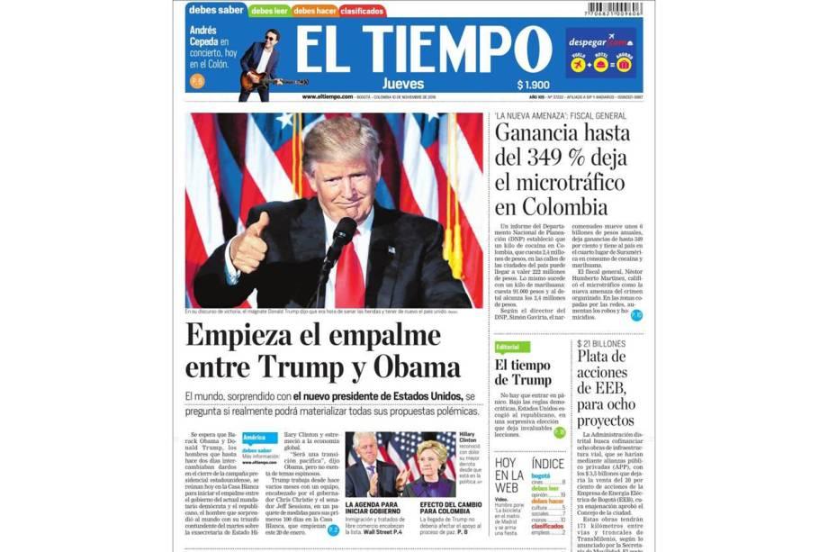 """""""El Tiempo: Começa a articulação entre Trump e Obama"""""""