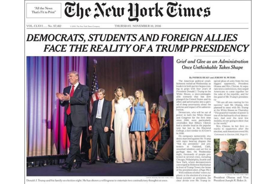 "The New York Times: ""Democratas, estudantes e aliados estrangeiros encaram a realidade de Trump na Presidência"""