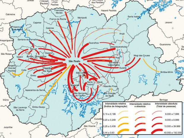 Mapa mostra a intensidade dos deslocamentos entre municípios da região metropolitana de São Paulo