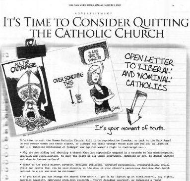 anúncio contra os católicos