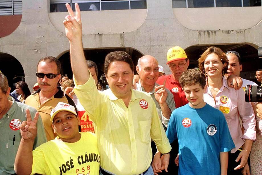 Anthony Garotinho, durante candidatura à Presidência da República pelo PSB, ao lado de seu filho Anthony