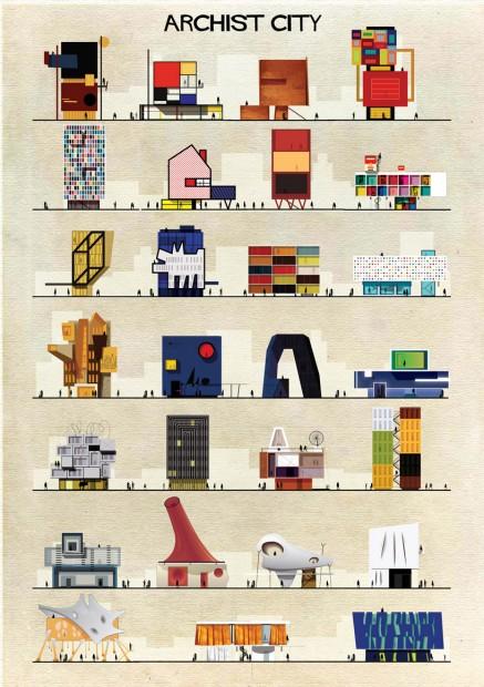 Série Archist, em que o ilustrador Federico Babina imagina edifícios projetados por artistas