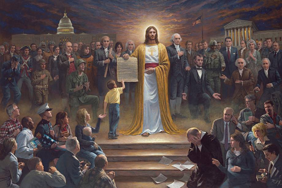Artista Jon McNaughton pinta quadros com figuras do governo dos Estados Unidos