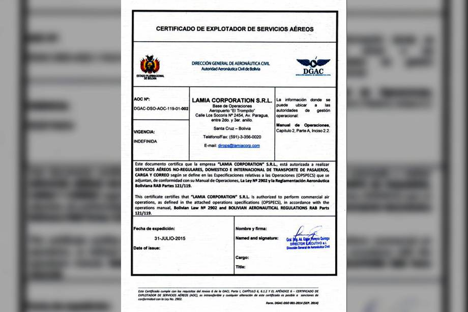 Certificado de Operador Aéreo da Lamia