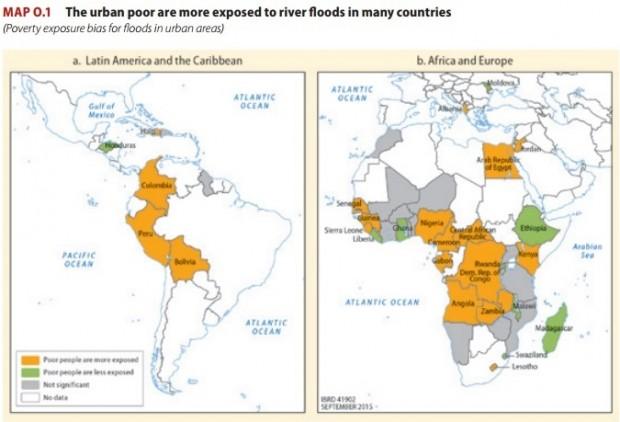 Em laranja, os países onde inundações serão mais prováveis