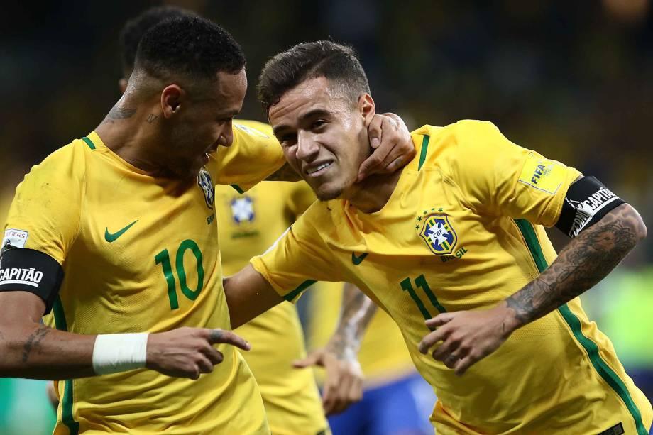Philippe Coutinho, do Brasil, comemora gol durante a partida contra a Argentina, válida pela 11ª rodada das eliminatórias Sul-Americanas da Copa de 2018, no estádio do Mineirão, na cidade de Belo Horizonte (MG) - 10/11/2016