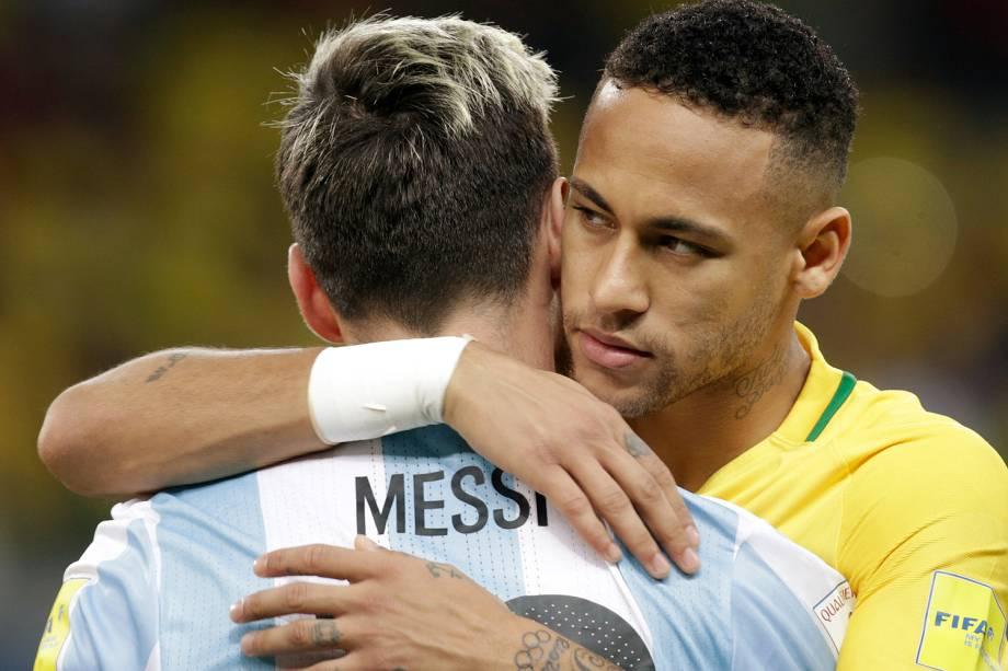 Neymar e Messi durante a partida contra a Argentina, válida pela 11ª rodada das eliminatórias Sul-Americanas da Copa de 2018, no estádio do Mineirão, na cidade de Belo Horizonte (MG) - 10/11/2016