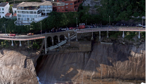 Trecho da ciclovia que desabou ontem no Rio, três meses após ser entregue (Matthew Stockma/ Getty Images/ Veja)