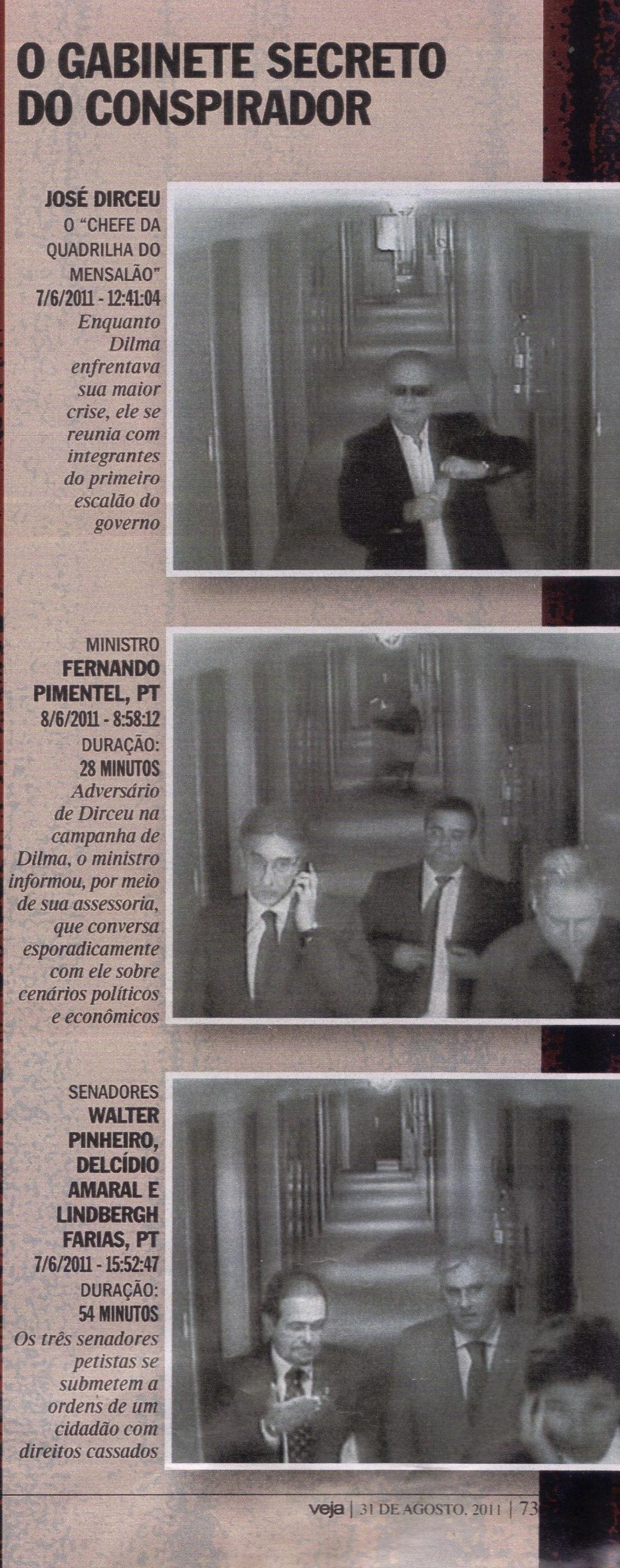 Dirceu chegando ao bunker. Pimentel e os senadores Walter Pinheiro, Delcídio Amaral e Lindbergh Farias: operação derruba-Palocci