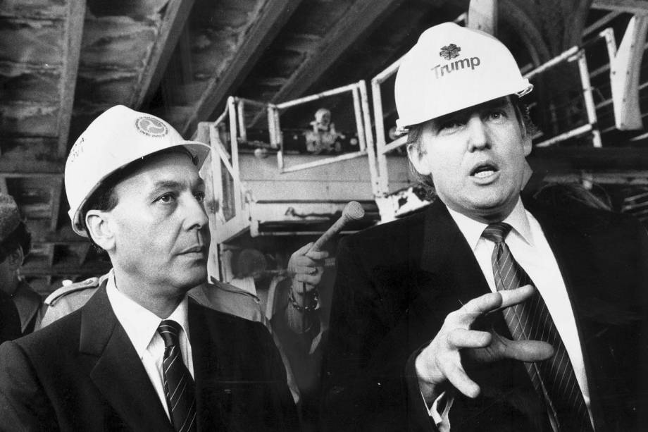 UNITED STATES - CIRCA 2002:  Donald Trump and Alfred Dellibova inspect damage to the Williamsburg Bridge.  (Photo by Misha Erwitt/NY Daily News Archive via Getty Images)