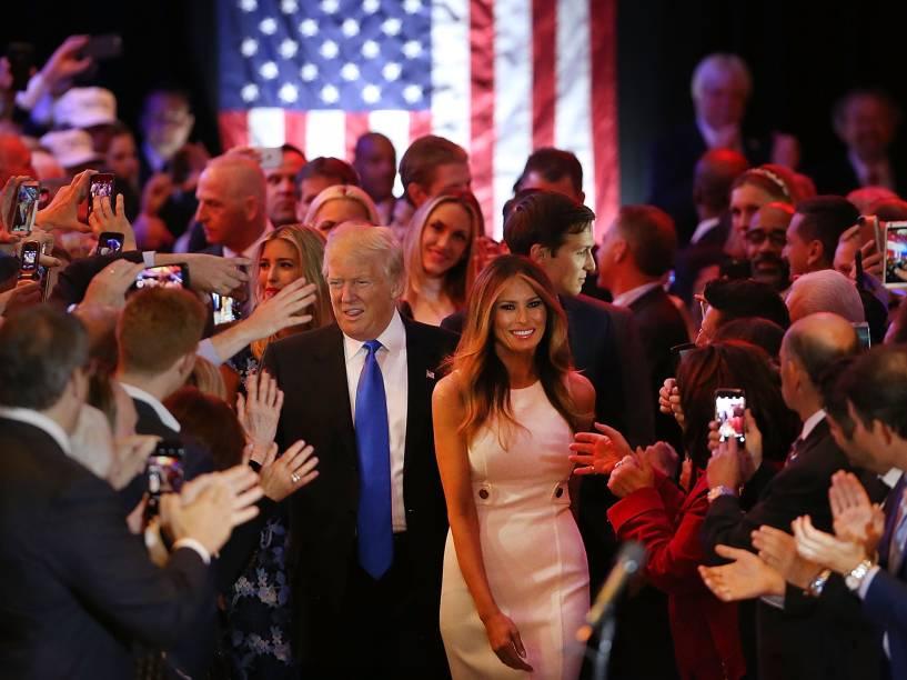O presidente eleito dos Estados Unidos, Donald Trump, ao lado de sua mulher Melania Trump - 13/05/2016