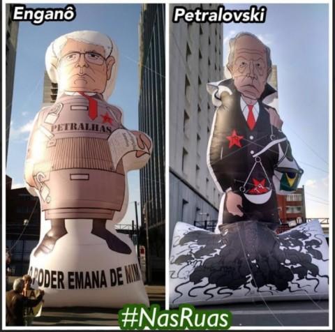 Bonecos que fazem alusão crítica a Janot e Lewandowski, do movimento Nas Ruas