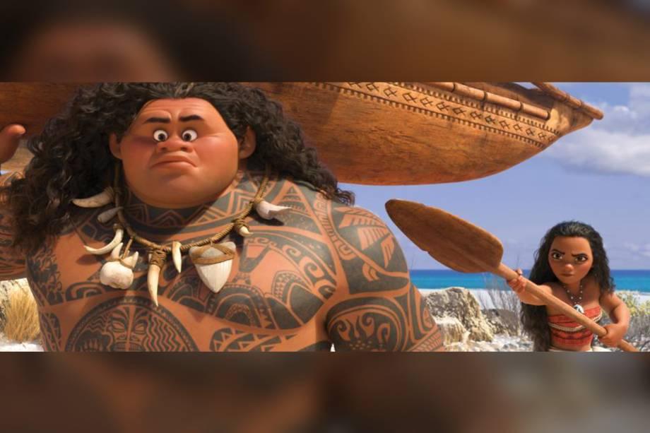 Os personagens Maui (Dwayne Johnson) e Moana (Auli'i Cravalho)