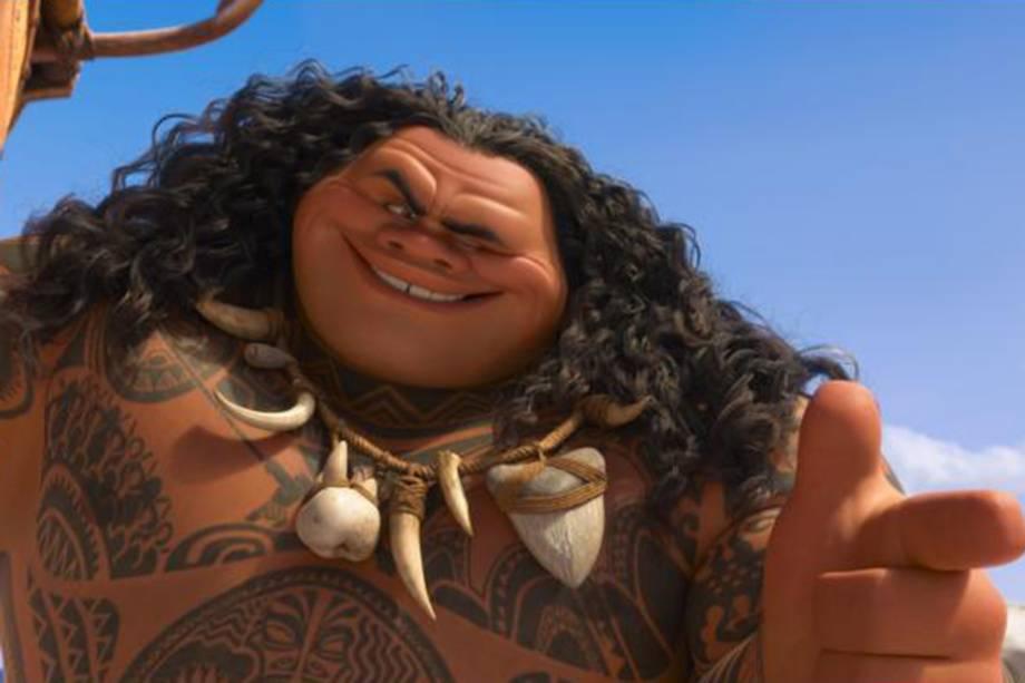 Maui (Dwayne Johnson) causa grandes problemas em 'Moana'