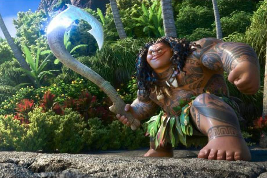 O personagem Maui (voz de Dwayne Johnson) no filme 'Moana'