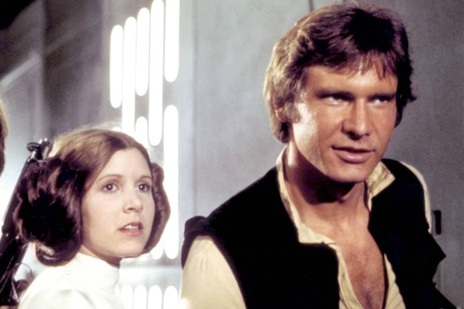 Carrie Fisher e Harrison Ford, em cena do filme 'Star Wars IV - Uma Nova Esperança' - 1977