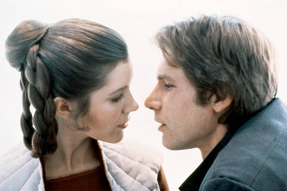 Carrie Fisher e Harrison Ford, em cena do filme 'Star Wars V -O Império Contra-Ataca' - 1980