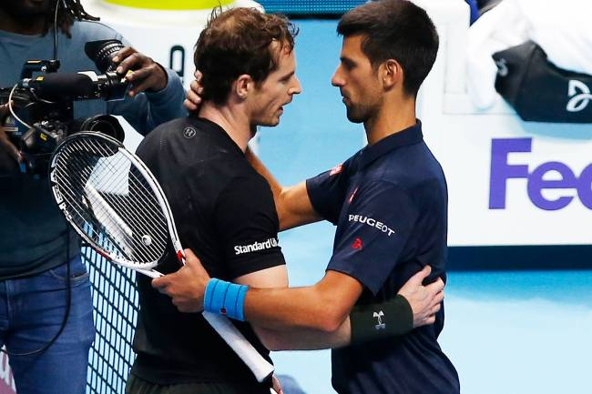Tennis Britain - Barclays ATP World Tour Finals - O2 Arena, London - 20/11/16 Great Britain's Andy Murray and Serbia's Novak Djokovic after the final Action Images via Reuters / Paul Childs Livepic EDITORIAL USE ONLY.