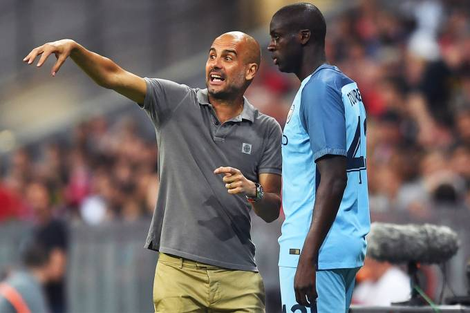 Yaya Touré e Pep Guardiola