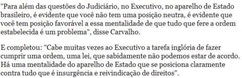 fala de Carvalho desordem