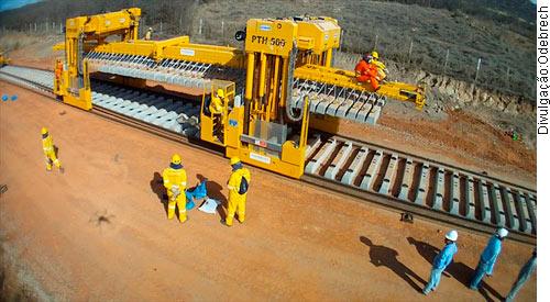 Construção da ferrovia Transnordestina (Foto Divulgação/ Odebrecht)