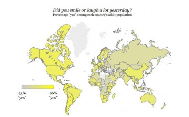 Países onde as pessoas riram ou gargalharam no dia anterior à entrevista