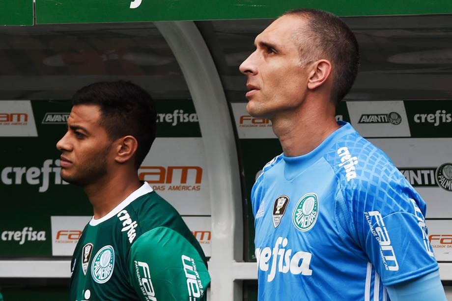 <span>Fernando Prass, do Palmeiras, durante partida contra a Chapecoense, pela penúltima rodada do Brasileirão, em São Paulo</span>