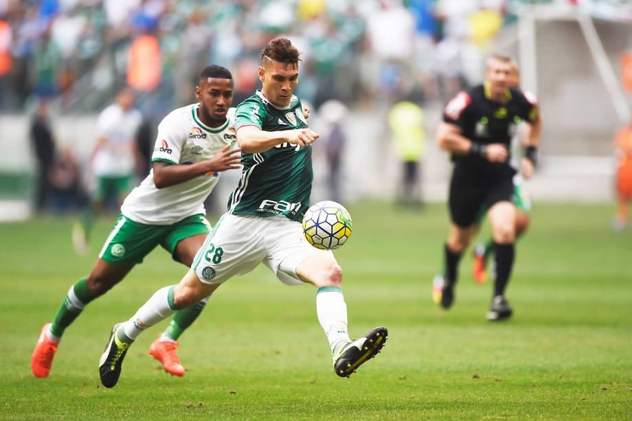 <span>Moisés, do Palmeiras, durante partida contra a Chapecoense, pela penúltima rodada do Brasileirão, em São Paulo</span>