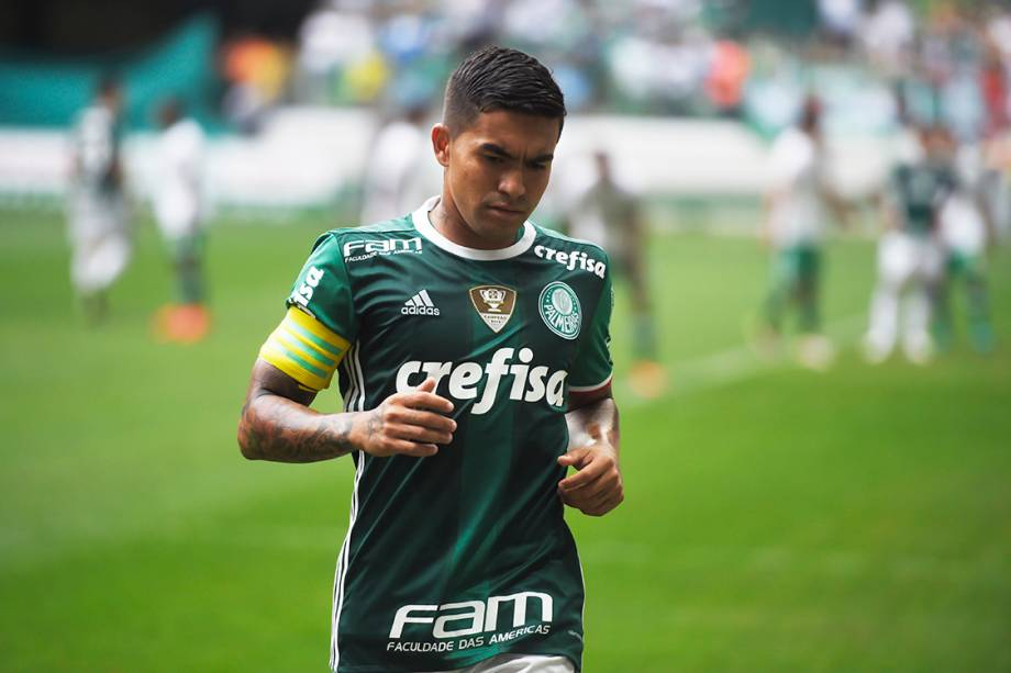<span>Dudu, do Palmeiras, durante partida contra a Chapecoense, pela penúltima rodada do Brasileirão, em São Paulo</span>