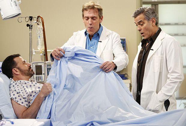 (E-D) Jimmy Kimmel, Hugh Laurie e George Clooney (Foto: Reprodução)