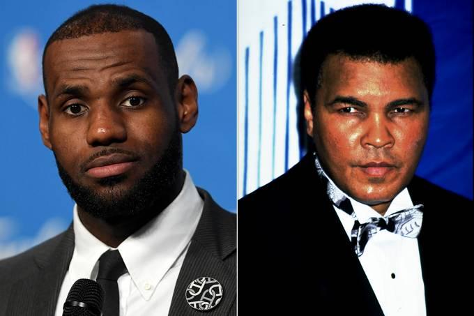 Jogador de basquete Lebron James e boxeador Muhammad Ali