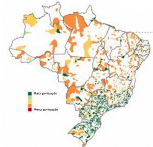 Classificação dos municípios: em verde os melhores; em vermelho, os piores
